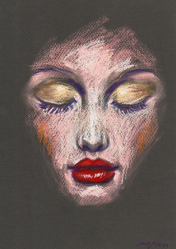 Original Pastell-Zeichnung - Schönheit Illustration - roten Lippen, goldenen Augen