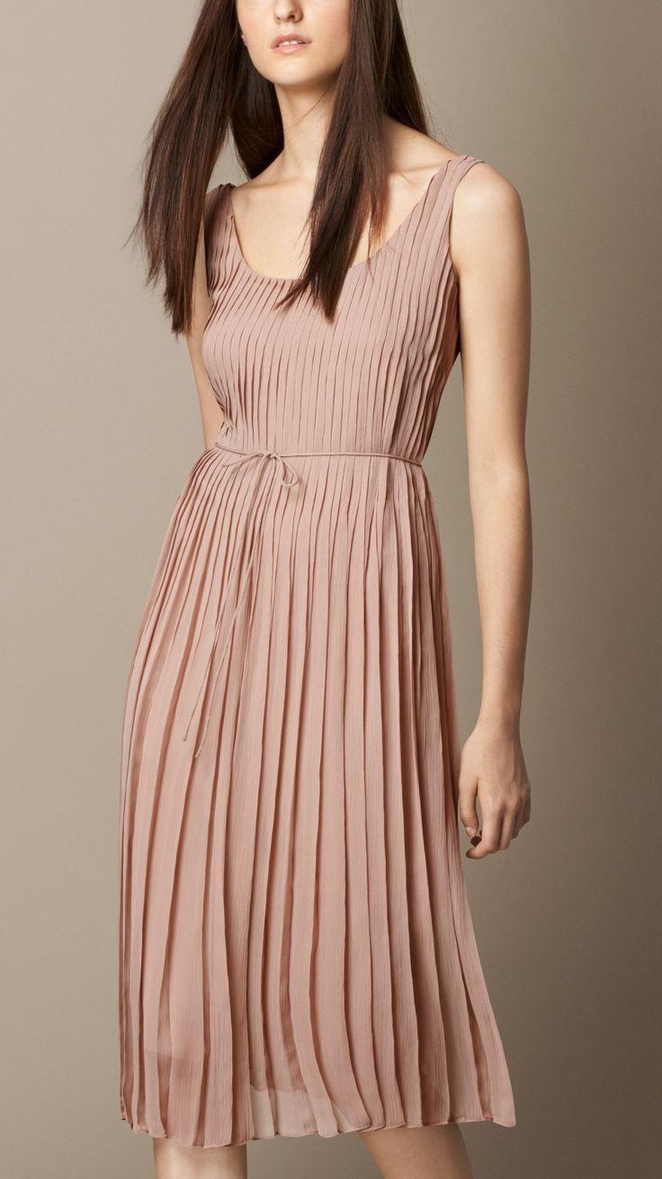 Sleeveless Pleated Silk Dress   Burberry Brit
