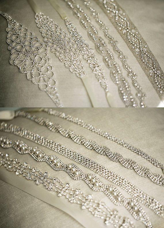 MARTINA Thin Crystal Beaded Bridal Belt Sash by lolaandmadison