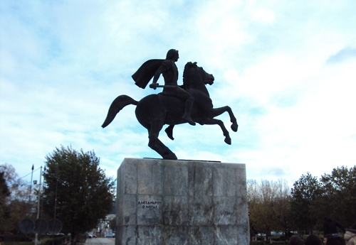 Alexander and Bucephalus statue in Thessaloniki
