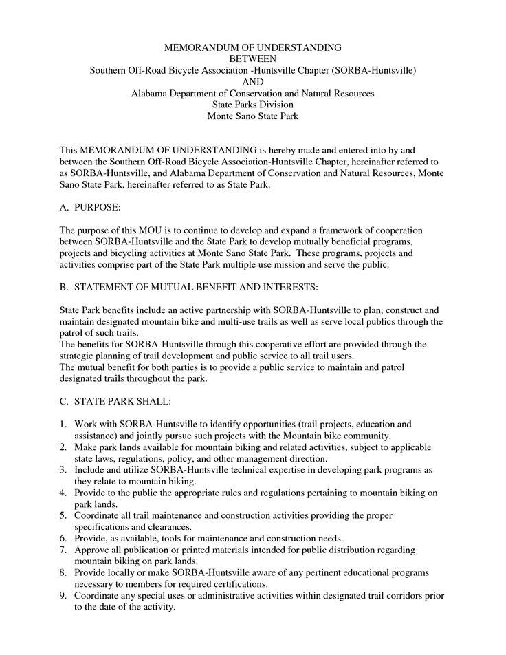 Memorandum Of Understanding Template Invitation