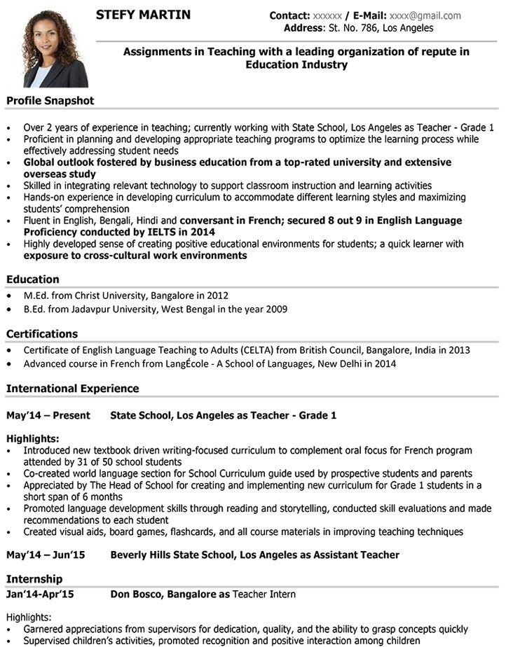 teacher cv format teacher resume sample and template