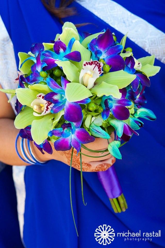 Green Cymbidium Orchids Blue Purple Dendrobium Bear Gr And Royal Satin Ribbon