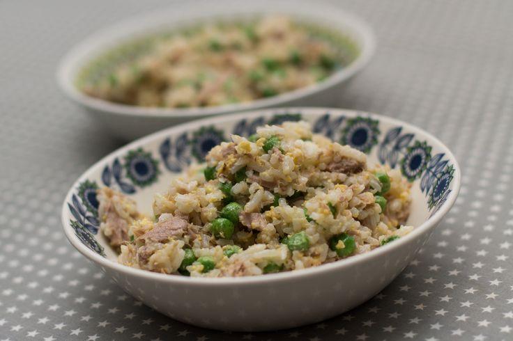Stekt ris med tunfisk og erter