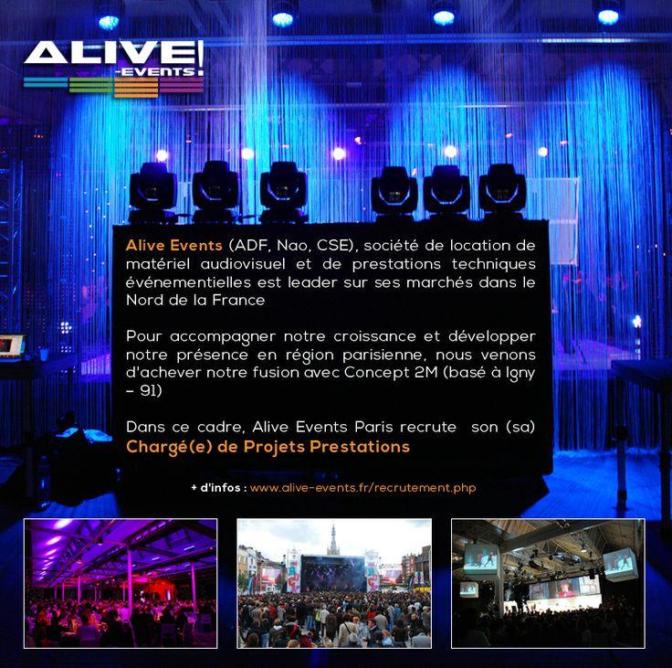 EMPLOI : Alive Events Paris recherche son / sa chargé(e) de projets prestations audiovisuelles  Toutes les infos : http://www.alive-events.fr/recrutement.php