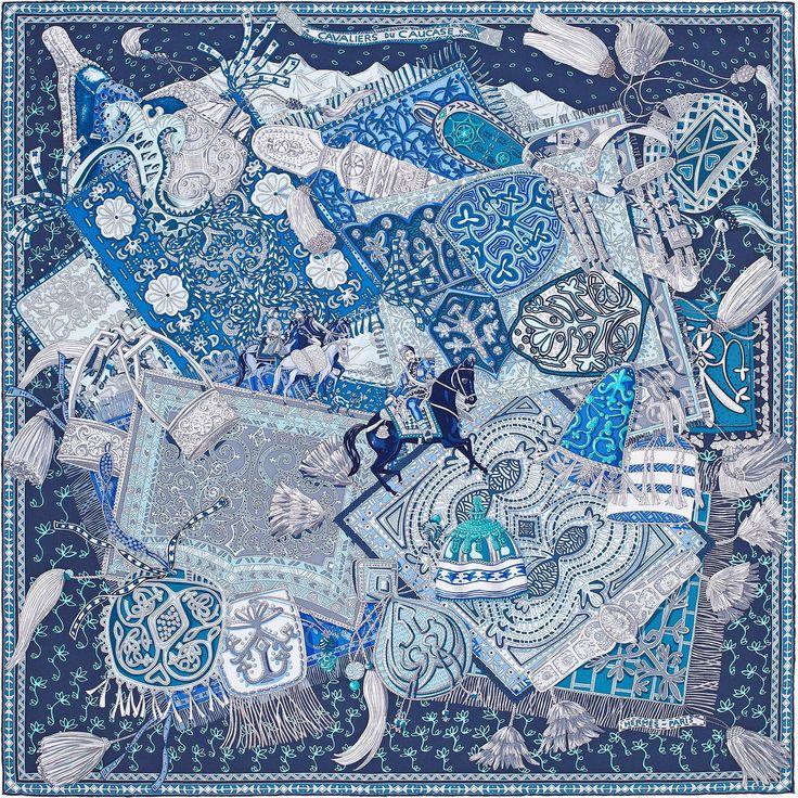 2015 FW | Cavaliers du Caucase | Carré en twill de soie, roulotté à la main (90 x 90 cm) | Dessiné par Annie Faivre | Réf. : H002874S 12 Marine/Gris/Turquoise | 335,00 €