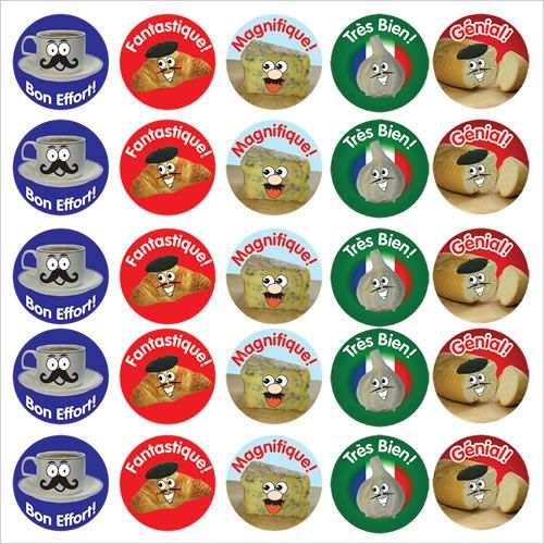 French reward stickers french foods mixed pack of 125