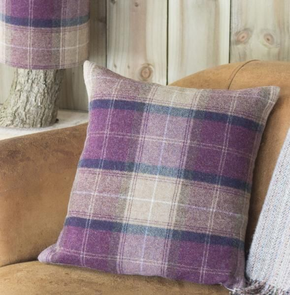 ' Plum Check Tweed ' Cushion