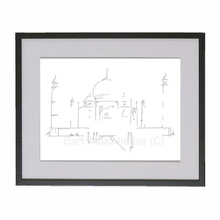 Originele tekening van de Taj Mahal in India door LeidseLijnen op Etsy