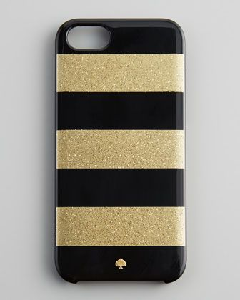 glitter jubilee striped iPhone 5 case, black/gold by kate spade new york at Neiman Marcus.