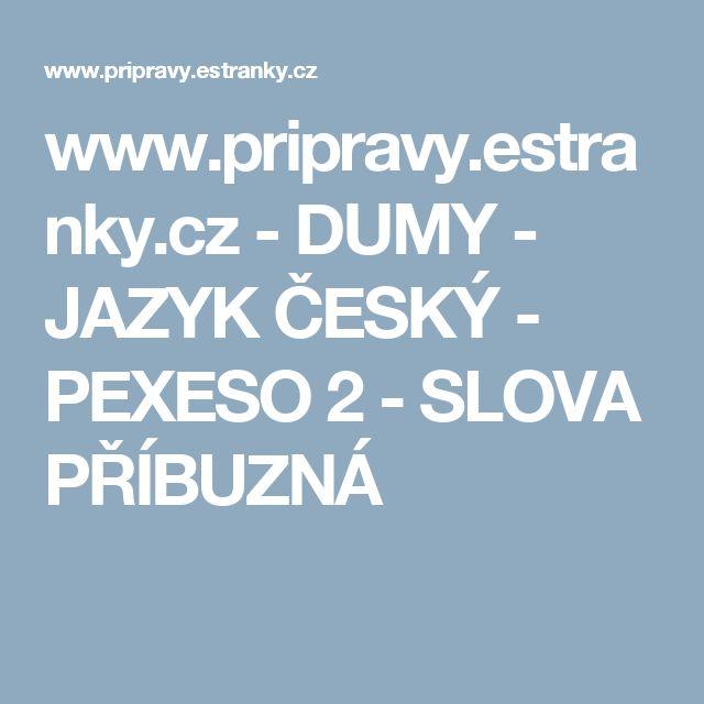 www.pripravy.estranky.cz - DUMY - JAZYK ČESKÝ - PEXESO 2 - SLOVA PŘÍBUZNÁ