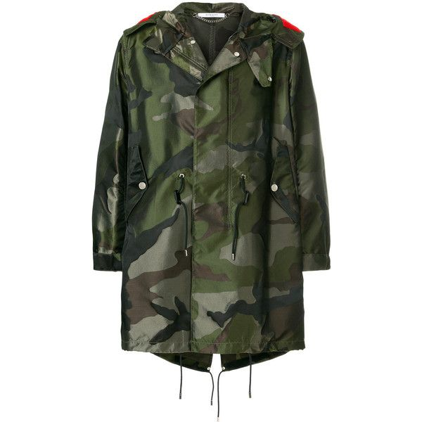 Givenchy camouflage parka coat ($3,500) ❤ liked on Polyvore featuring men's fashion, men's clothing, men's outerwear, men's coats, green, mens camo coat, mens green sport coat, mens hooded coat and mens parka coats