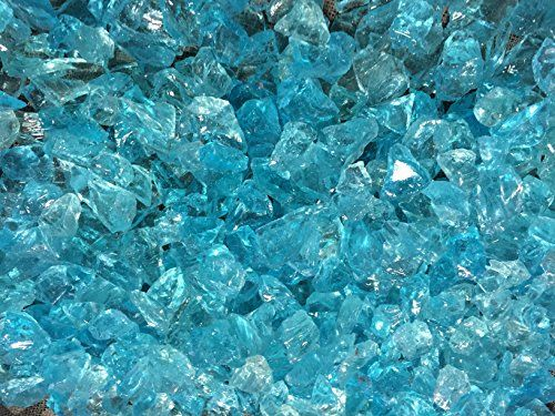 """Teal Lagoon Crushed Fire Glass 1/2""""-3/4"""" Firepit Glass 10 Pounds"""