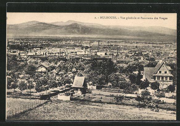 carte postale ancienne: CPA Mulhouse, vue générale et panorama des Vosges