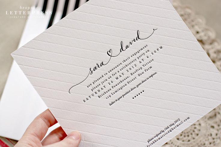 Letterpress invitation stationery // Sara and David // 2 colour // black and blind quilted textural impression // custom hand lettering