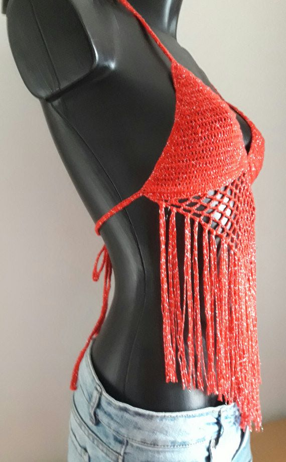 Halter crochet top bikini top red and silver top gipsy