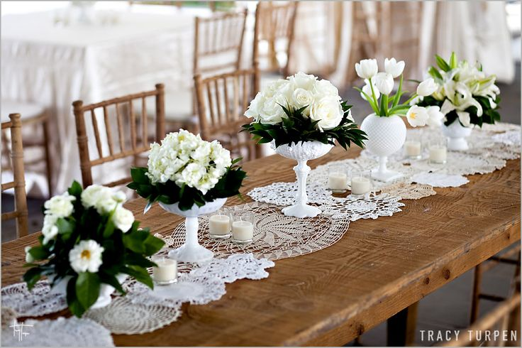 doily table runner: Lace Doilies, Wedding Ideas, Vintage, Milk Glass, Weddings, Table Setting, Table Runners