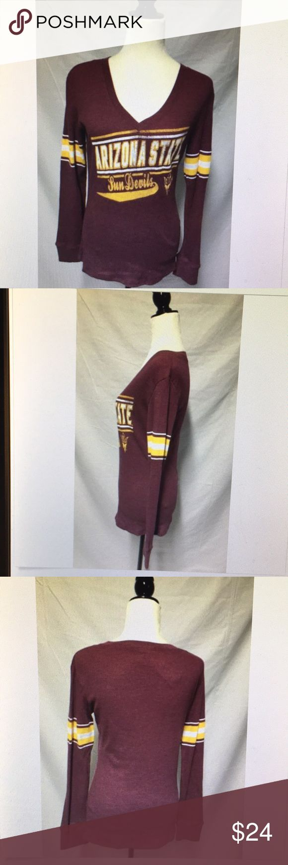 Arizona State Sun Devils small varsity thermal Arizona State Sun Devils woman size small varsity thermal V-neck longsleeve topKnights Apparel new with tags maroon and gold in color intentional distressing cotton polyester blend machine washable.  17 1/2 inch bust laying flat 16 inch waist 26 inches in length Knights Apparel Tops