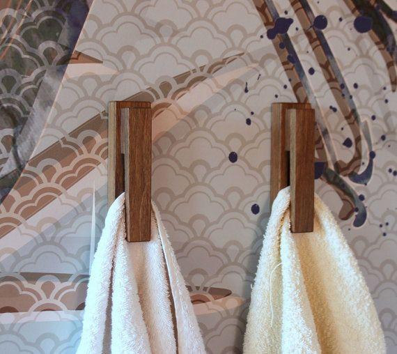 set of 2 walnut towel hookswall mounted hooksgift under