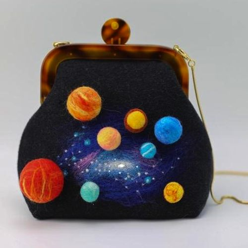 Design: Needle Felted galaxy solar system shoulder bag In Stock: 2-4 days for processing Include: A shoulder bag Color: Blue, Material: Wool, Felt, Love Size: 22cm(H) x 10cm(L) x 18cm(W) Decorate: None Style: Shoulder bag Care &...