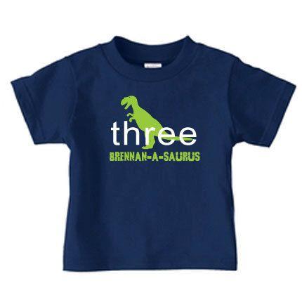 Personalized dinosaur birthday t-shirt for kids, t-rex birthday t shirt. $16.99, via Etsy.