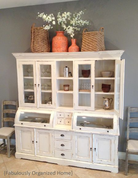 Love This Kitchen Hutch Thinking If A Roll Top Secretary Desk Could Be Converted And