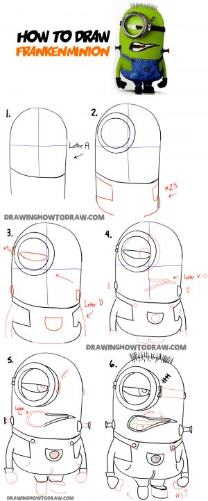 learn how to draw stuart the minion as frankenstein step by step drawing tutorial