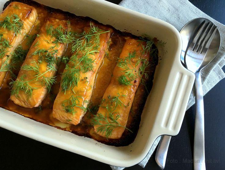 Lækker opskrift på ovnbagt laks med sennep og honning - super nem opskrift