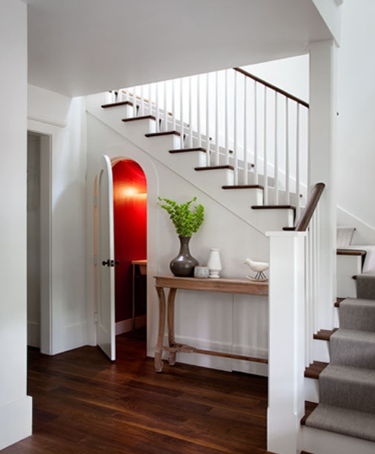 love the grey carpet runner on the wooden stairs