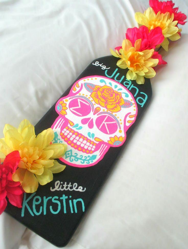 Sigma Kappa big little sorority paddle sugar skull flowers