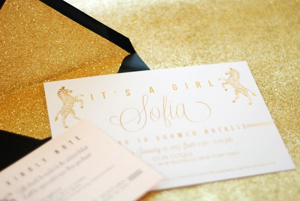 Natalie's Gold Foil Zebra Baby Shower Invitations | Design + Photo: Umama