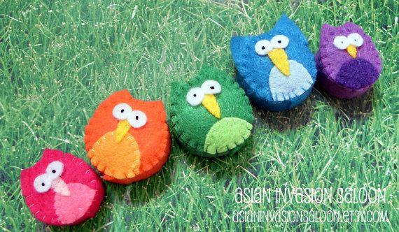 Kawaii Spring Owls Bottlecap Magnets  set by asianinvasionsaloon