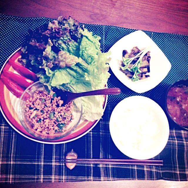 ☆高野豆腐入り肉味噌 ☆てんこ盛りレタスとトマト ☆茄子の煮浸し ☆お味噌汁 - 9件のもぐもぐ - 5月16日の夕飯 by nacchin