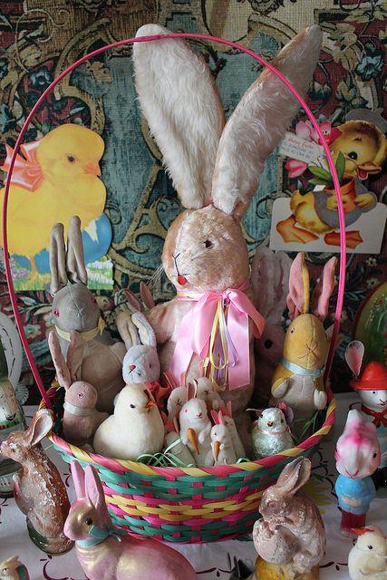 Bunny Basket filled with vintage Easter toys