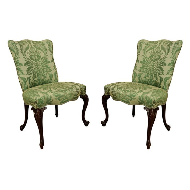 a pair of george iii mahogany side chairs circa the curved serpentine upholstered back