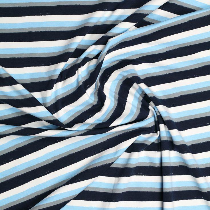 blauw grijs off white gestreept katoen tricot met stretch