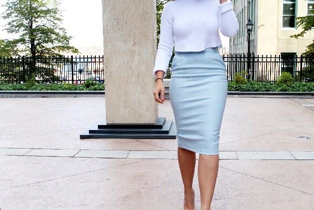 Sweater - Zara Skirt - River Island Heels - Christian Louboutin When a skirt is this length and this fit, ...