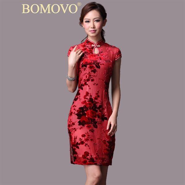 Китайские женские шелковые платье