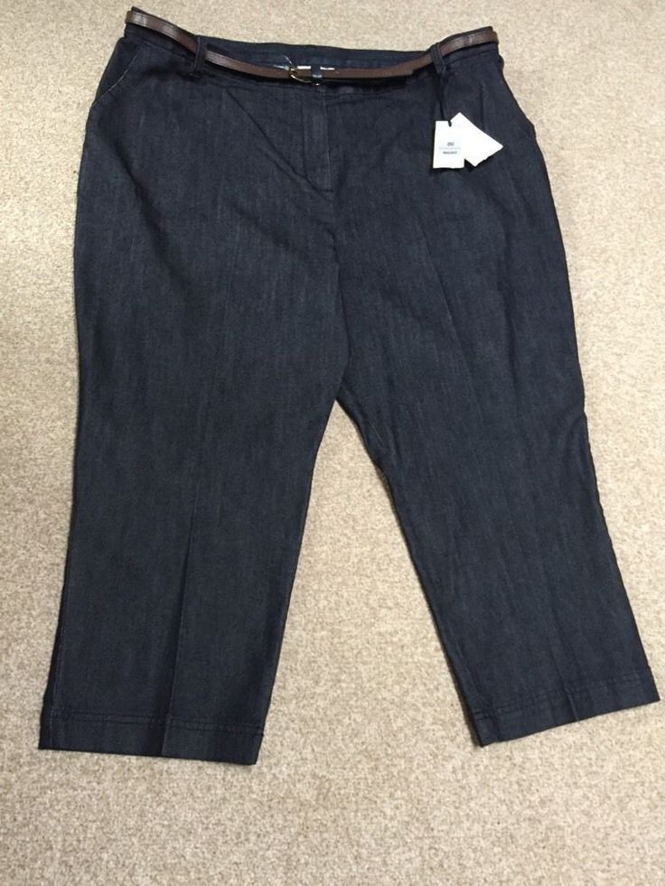 M&S CLASSIC Collection Ladies Cotton Stretch trousers with Belt UK20, EU48 Short