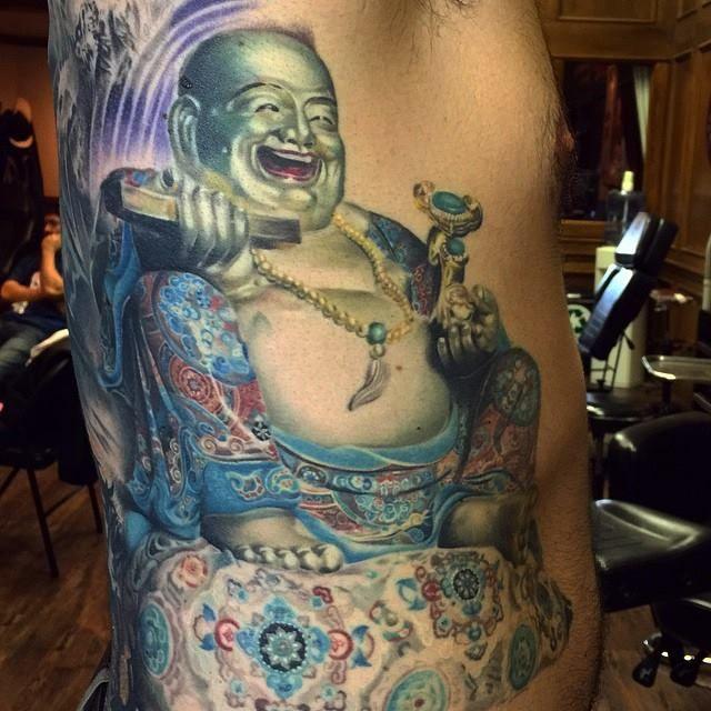 Colorful Laughing Buddha Tattoo by Rember orellana