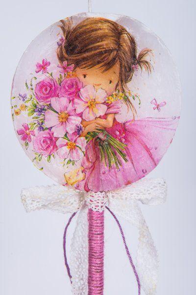 """Easter Candle Lollipops """"Flower Girl"""" #lollipops #decoupage"""