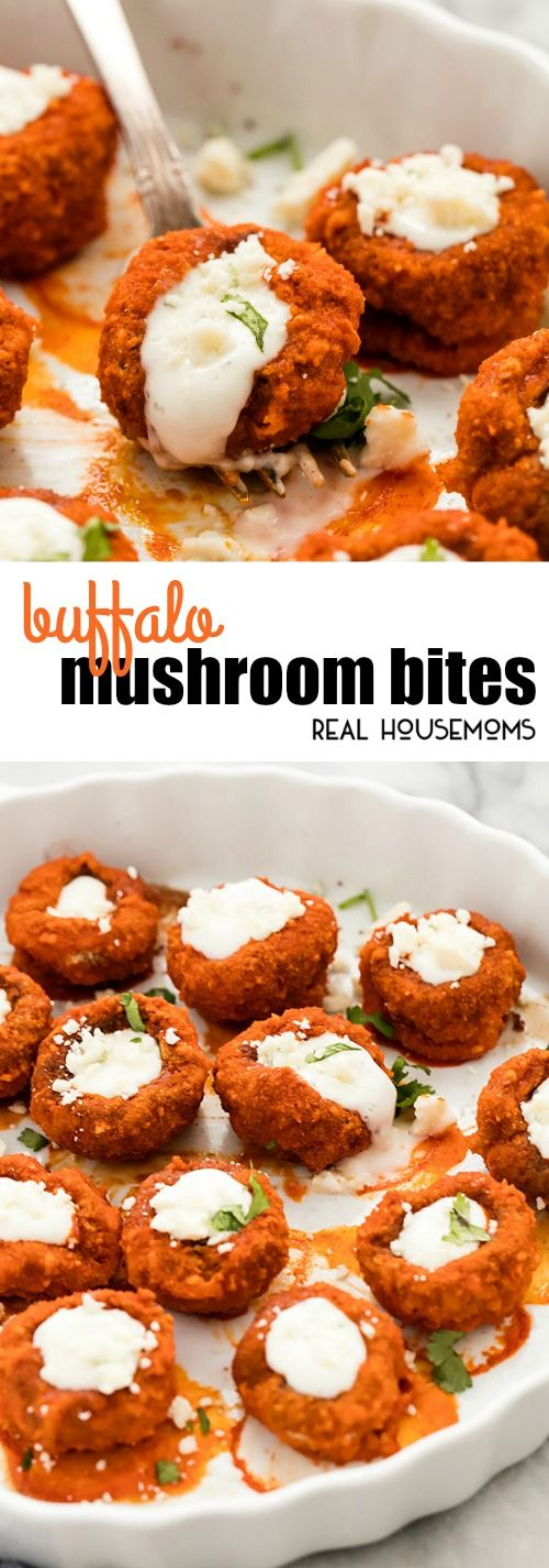 These quick and easy Buffalo Mushroom Bites are healthier than chicken wings, baked with a crispy outside and tender middle, then stuffed with blue cheese dressing and crumbles! via @realhousemoms (Blue Cheese Dressing)