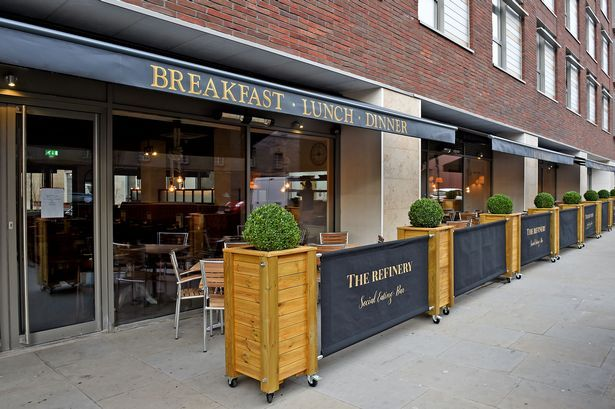 Canvas Cafe Barriers For The Refinery Liverpool Liverpool Canvas Cafe Banners Grey Gold Logo Cafe Seating Outdoor Restaurant Outdoor Restaurant Patio