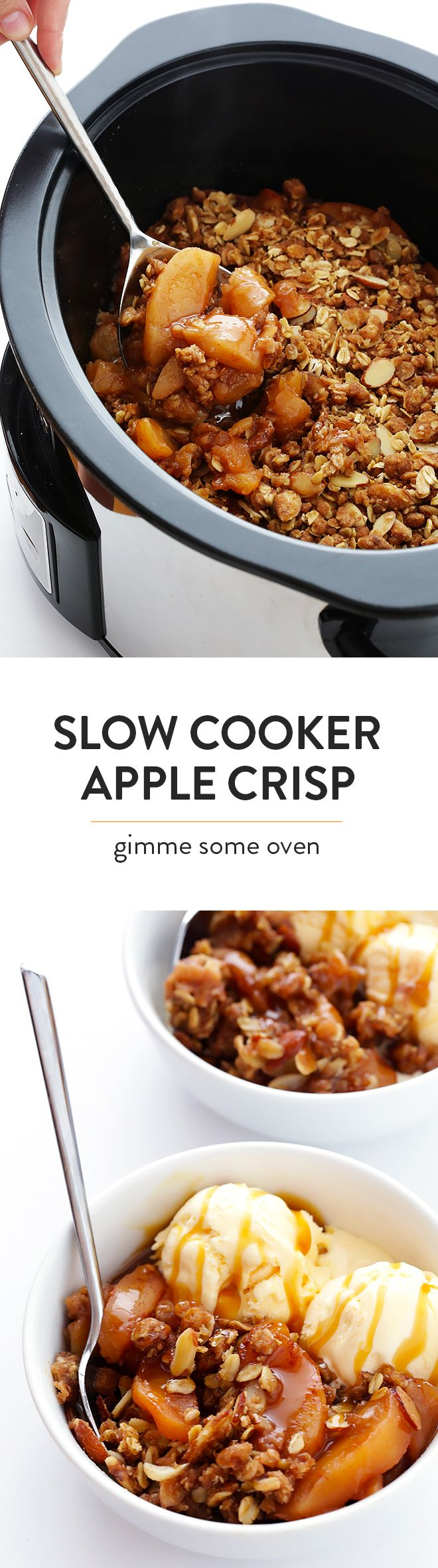 This Slow Cooker Apple Crisp recipe is easy to make in the crock-pot, and it's made with the most delicious warm cinnamon apples and crisp oatmeal-almond topping! | gimmesomeoven.com (Gluten-Free / Vegan / Vegetarian)