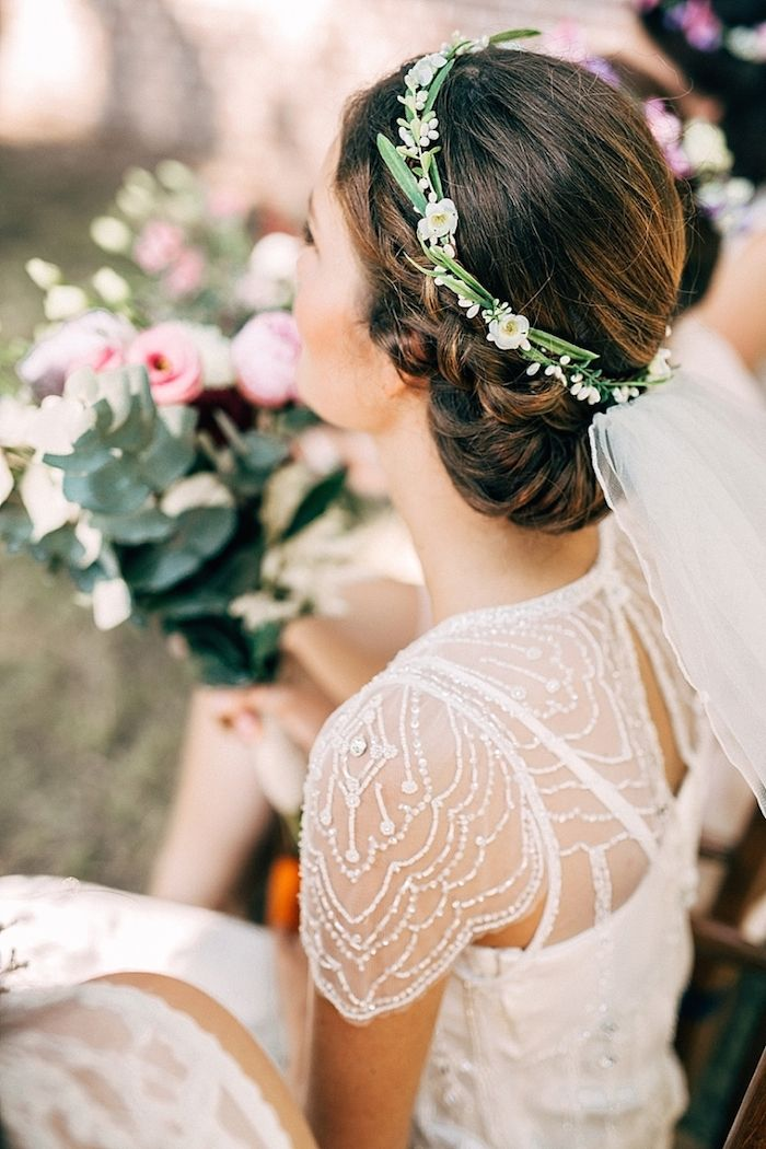 A simple, yet chic flower crown for a spring or summer wedding.
