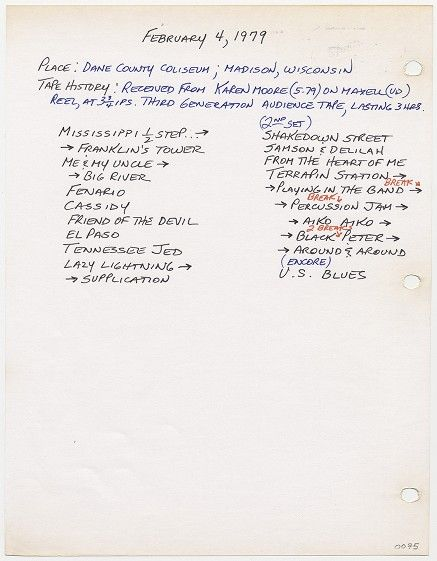 Grateful Dead Archive Online | Dick Latvala notebook: February 4, 1979