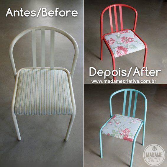 Easy DIY project! Just follow the pictures on the website and you'll learn how to change the fabric of an old chair! I love furniture makeover! - Passo a passo ensinando a trocar o estofado de uma cadeira! Muito fácil! #chair #furniture #fabric