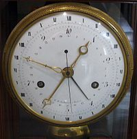 1793 - During the revolution the French attempt to implement a system of decimal time, with 10 hours/day:100 minutes/hour:100 seconds/minute. It doesn't take.
