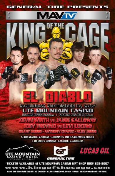 RANCHO CUCAMONGA, CA. (August 10, 2017) – King of the Cage returns to Ute Mountain Casino, Hotel & Resort in Towaoc, Colorado on Saturday, September 16, 2017 as they host KOTC: El Diablo. The e…
