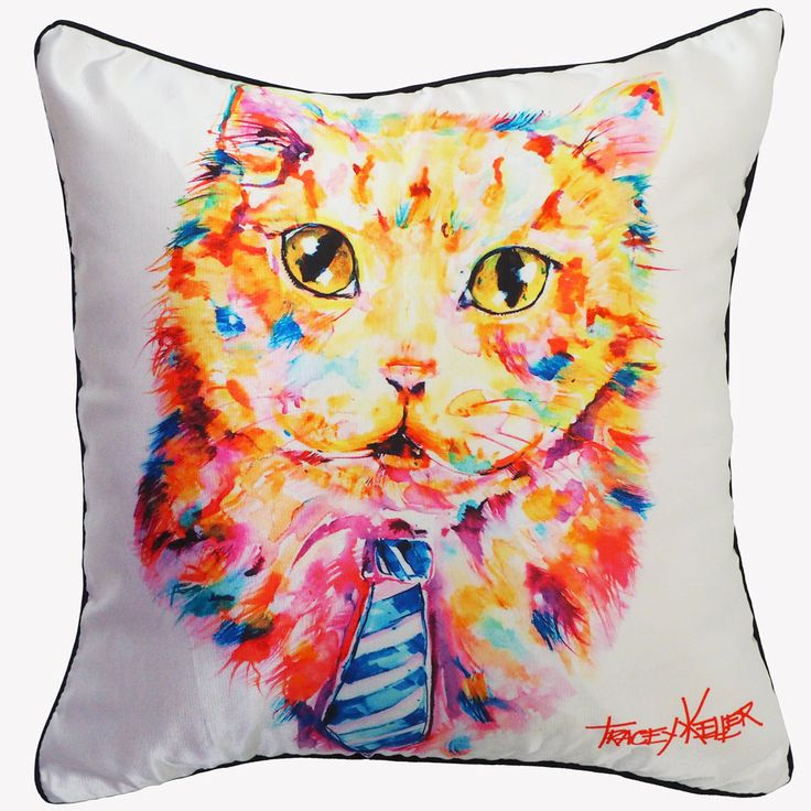 Cat and Tie Cushion Cover by Tracey Keller